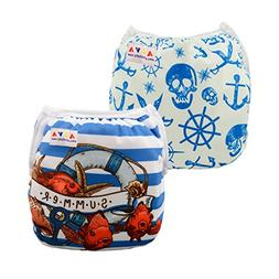 ALVABABY Swim Diapers 2pcs One Size Reuseable &Adjustable 0-