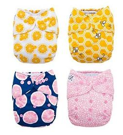 The Bee's Knees 4-Pack Cloth Pocket Diapers with 4 Bamboo In