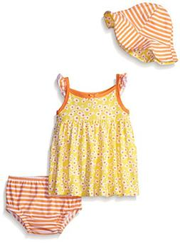 Gerber Baby Three-Piece Sundress, Diaper Cover and Hat Set,