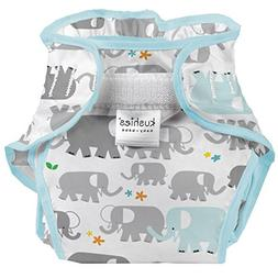 Kushies Baby Toddler Waterproof Diaper Wrap, White Elephants