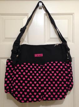 Tote Style Baby Diaper Bag Love Is Blk Pink Hearts Cloth Nyl