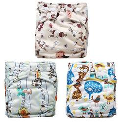 Unisex Baby 3 Pcs Reusable Washable Pocket Baby Cloth Diaper