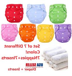 Washable Cloth Diapers Adjustable Reusable Nappies SET 7 Dia