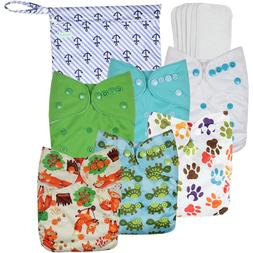 Washable Reusable Baby Cloth Pocket Diapers 6 Pack + 6 Bambo