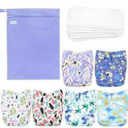 Washable Reusable Baby Cloth Pocket Diapers 6 Pack+ 6 Bamboo