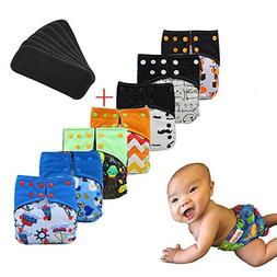 Ohbabyka Baby Waterproof AI2 Charcoal Bamboo Cloth Diapers N