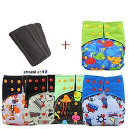 Baby Waterproof AI2 All-in-two Charcoal Bamboo Cloth Diaper