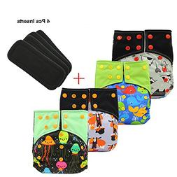 Baby Waterproof Charcoal Bamboo AI2 Cloth Diaper Nappies wit