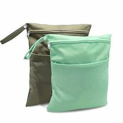 Waterproof Reusable Cloth Diaper Wet Dry Bags with Two Zippe
