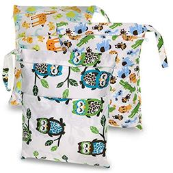 Sumnacon Waterproof Wet Bag Diapers Bags, 3 Pcs Reusable Was