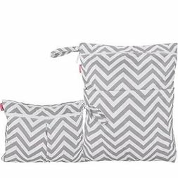 Damero 2pcs Pack Travel Baby Wet and Dry Cloth Diaper Organi